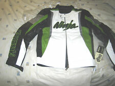 Men KAWASAKI Green BLACK MOTORCYCLE RACING LEATHER JACKET with HUMP XS TO 6XL