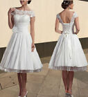 New White/Ivory Cap Sleeve Short Party Wedding Dress Gown Size 6-8-10-12-14-16