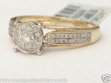 10k Yellow Gold Halo Vintage Antique Style Diamonds Engagement Promise Ring NEW