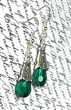 Quality Earrings Vintage Style Emerald Green Drop Silver SP Hooks Present Gift
