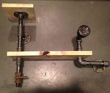 Steampunk two tier shelf with gauge and valve
