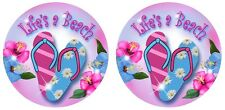 2 Life's A Beach Hibiscus Flowers Flip Flops Vinyl Decal Stickers Gifts Girls 4""