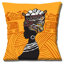 "AFRICAN TRIBAL LADY ORANGE YELLOW BROWN ELEPHANT SCENE 16"" Pillow Cushion Cover"