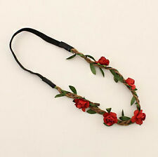 Red Boho Women Floral Flower Garland Festival Wedding Forehead Hair Head Band
