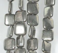 16MM  IRON PYRITE GEMSTONE PERFECT SQUARE 16MM LOOSE BEADS 7.5""
