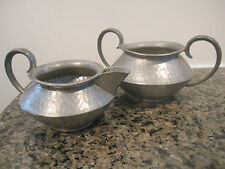 Primitive Pewter Creamer And Open Sugar Bowl By Battle-Axe English Pewter
