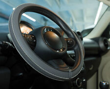 Italian Hand Made ARTISAN Leather Steering Wheel Cover - Dark Grey & White Trim