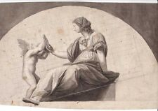 XIX s. disegno preparatorio, donna con angelo o putto