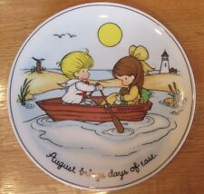 VINTAGE 1972 JOAN WALSH ANGLUND AUGUST  BIRTHDAY PLATE CHILDREN in ROW BOAT