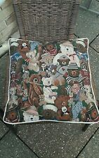 Teddy bear tapestry needlework style cushion with teddy bears on the front