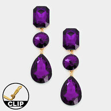 """CLIP ON-Large gold and purple dangling stone clip on earrings. 3 1/4"""""""