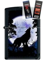 Zippo 0024 wolf howling at moon Lighter with *FLINT & WICK GIFT SET*