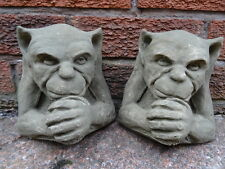 Pair Architectural Old Gothic Style English Stone Gargoyle Wall Garden Plaques