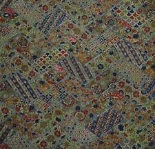 Japanese vintage kimono silk fabric Green Patchwork