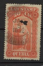 Canada Used Revenue Quebec Law Stamp with nice 1892 CDS cancel 20 cent E081