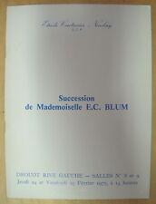CATALOGUE DE VENTE SUCCESSION DE MADEMOISELLE E C BLUM DROUOT RIVE GAUCHE 1977