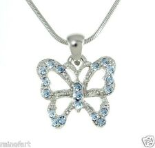 W Swarovski Crystal Butterfly Blue Wings New Necklace Jewelry Pendant