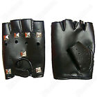 Fingerless Motorcycle Driving Glove Rivet Punk Cool Leather Cowhide Glove
