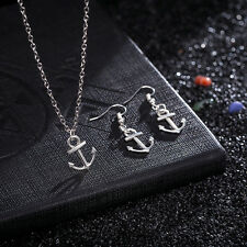 New Jewelry Set Anchor Earrings Necklace Pendant Plated 925 Silver LF