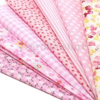 7x Retro Pink Series Floral Polka Dots Grid Cotton Fabric 50cm DIY Craft Sewing