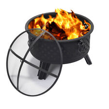 "26"" Metal Round Firepit Patio Garden Stove Fire Pit Outdoor Brazier With Poker"