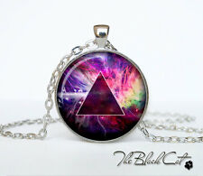 Hipster triangle galaxy photo Tibet silver Cabochon glass pendant chain Necklace