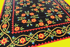Hand Applique Rose of Sharon & Incredible floral Borders QUILT TOP - Must See !