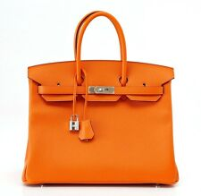 HERMES BIRKIN 35 Bag classic H ORANGE epsom palladium