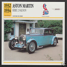 1932 1933 1934 ASTON MARTIN SERIES 2 SALOON Car Photo Spec Sheet French Card