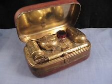 TRAVELLING BRASS CASE VICTORIAN PEN WIPE BRUSH INKWELL DIP PEN WAFER CANDLE BOX