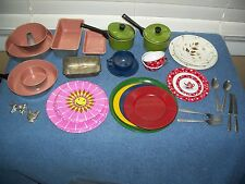 Vintage Play Kitchen Dishes - Plates Cups Pans Flatware - Metal / Tin Litho