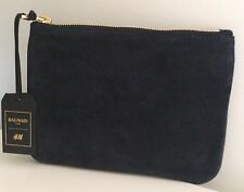 BALMAIN Paris H&M Clutch Bag Tasche Leder Leather Blau Blue