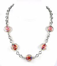 Sterling Silver Wide Rolo Chain Dichroic Lampwork Glass Bead Necklace 18""