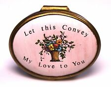 """Halcyon Bilston Battersea Enamels """"Let This Convey My Love to You"""" Oval Box"""