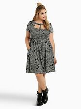 Suicide Squad Torrid 2X 18 20 Harley Quinn Mesh Inset Skater Dress Gray NWT