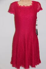 NWT Adrianna Papell Cap Sleeve Fit & Flare Dress Size 10P Lip Lace