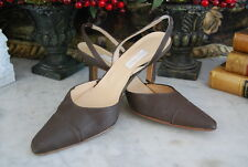 VERA WANG MADE IN ITALY BROWN SATIN SLING BACK MID HEEL WOMEN'S SHOES SIZE 8 M