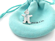 Tiffany & Co Silver RARE Blue Enamel Gingerbread Man Charm Pendant!