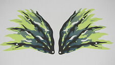 Lego 2 New Yellowish Green Cloth Wings Dragon Black and Dark Blue Streaks