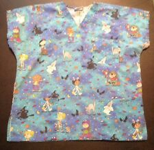 Halloween Nurses Scrub Top Scrubs Size Large L Cute Fun
