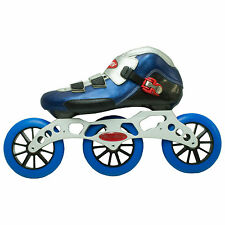 "3-125mm aluminum 12.75"" inline skate frame. 125mm wheels with leather boot."