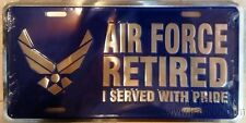 Air Force RETIRED 9031 Metal License Plate Tag United States Military U.S,
