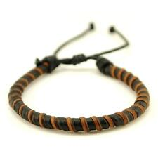 NATURAL LEATHER BRACELET Black & Brown Twist Men Women Braided Adjustable Surfer