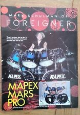 MARK SCHULMAN (Foreigner) Mapex Drums magazine ADVERT/clipping 11x8 inches