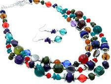THREE LAYERS MULTI COLOR LUCITE BEAD SILVER TONE BEAD NECKLACE EARRING