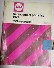 BSA 1971 750 ROCKET 3 REPLACEMENT PARTS LIST ORIGINAL PUBLICATION 750cc R3 A75
