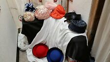 Lot of 11 Vintage 1950's 1960's Hats-White Black Orange Blue Pink Church Straw