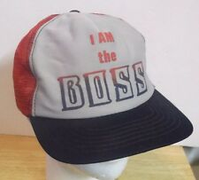 Vintage I AM THE BOSS SnapBack Mesh Trucker Hat Cap Red & Blue Hipster