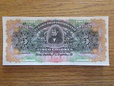 1916 Costa Rica 5 Colon Bank Note Central America Bill Paper Money Series A