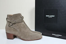 New sz 8 / 38 Saint Laurent Blake Kaki Taupe Suede Ankle Bootie Low Heel Shoes